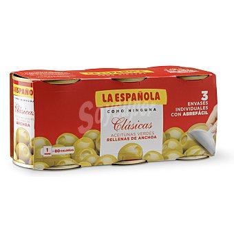 La Española Aceitunas verdes rellenas de anchoas Pack 3 latas 50 gr