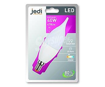 JEDI Bombilla led vela golpe de viento, 6,5 Wattios, casillo E14 (fino), luz cálida 1 Unidad