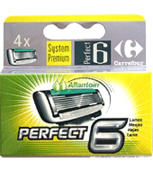Carrefour Recambio de Maquinilla Perfect 6 hojas Pack de 4 uds