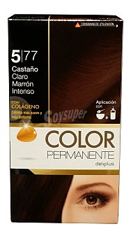 COLOR PERMANENTE Tinte coloración permanente Nº 5,77 castaño claro marrón intenso (contiene colágeno para hidratar) 1 unidad