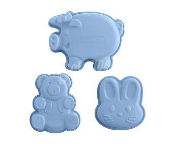 QUID Set de 3 moldes fabricados en silicona con forma de animales 3u