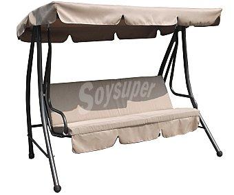 GARDEN STAR Balancín de 3 plazas con estructura de acero y asiento y toldo de textileno de color marrón, dimensiones: 200x120x164 centímetros 1 unidad