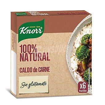 Knorr Caldo carne sin glutomato 100% natural 6 pastillas Envase 66 g