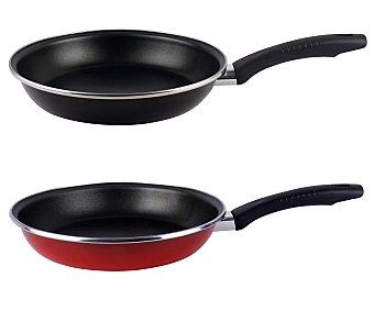 Magefesa Sartén de 24 centímetros de diámetro con cuerpo de acero esmaltado rojo o negro, revestimiento interior antiadherente y mango termoresistente, apto para inducción 1 unidad
