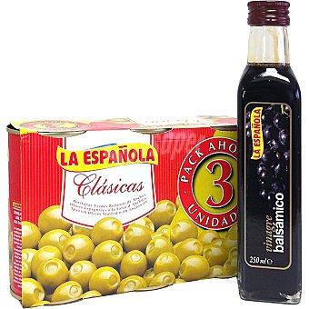 LA ESPAÑOLA aceitunas rellenas de anchoa con regalo de una botella de vinagre de 250 ml pack 3 latas 150 g