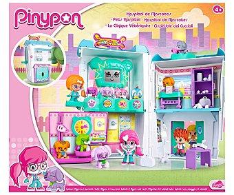Pin y pon Escenario de juego interactivo Hospital de mascotas, incluye accesorios y 2 minifiguras PINYPON.