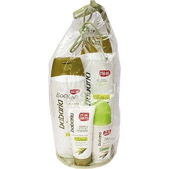 Babaria gel crema de ducha hidratante con aceite de oliva + crema corporal frasco 500 ml + crema nutritiva de manos con aceite de oliva + desodorante Sensitive roll-on Frasco 750 ml