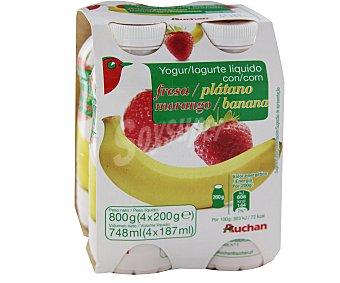 Auchan Bebida de Leche con Fermentos Lácteos y pulpa de Fresa y Plátano 4x 200g