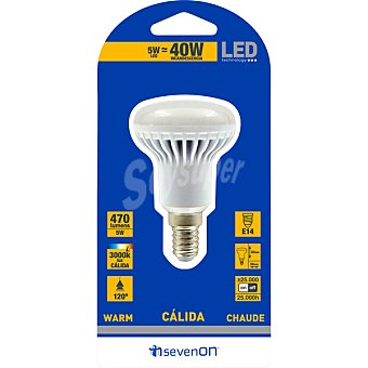 SEVENON 5 W (40W) lámpara LED blanco cálido casquillo E14