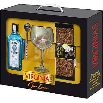 Virginias Turrón trufado a la ginebra con limón envase 500 g + ginebra Bombay Saphire 50 cl + Copa + bolsa de gominolas Envase 500 g