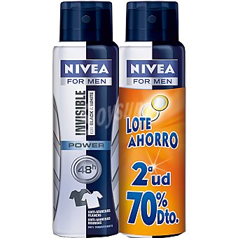 Nivea Desodorante Black & White Invisible Power anti-manchas pack 2 spray 200 ml (pack precio especial 2ª unidad al 70%) Pack 2 spray 200 ml