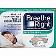 Tiras nasales mentoladas tamaño grande 8 ud Breathe Right