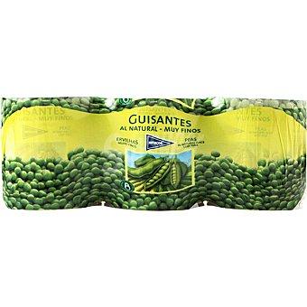 Hipercor Guisantes al natural muy finos neto escurrido Pack 3 latas 120 g