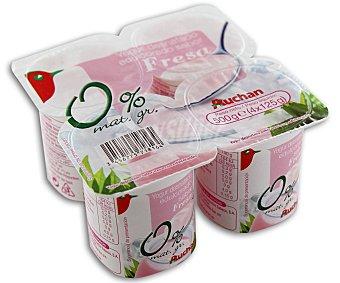 Auchan Yogur desnatado sabor fresa (sin materia grasa) Pack de 4 unidades de 125 gramos