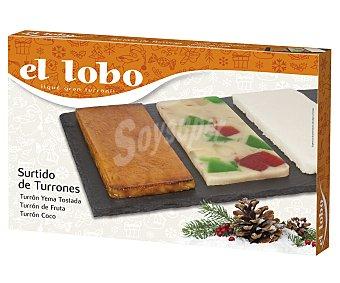 El Lobo Turrones surtidos de yema tostada, fruta y coco,, 3X95GR 285gr