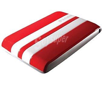 VERBATIM GT Disco duro Externo de 2.5 Pulgadas Rojo y Blanco, 500GB de Capacidad, Conexión 3.0 y 2.0