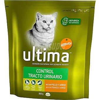 Ultima Affinity Alimento para gatos cuidado del tracto urinario pollo-arroz Heath Cat Control Paquete 800 g