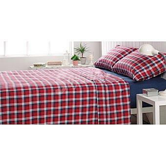 CASACTUAL Cuadrado oscuro juego de cama de franela en color granate para cama 90 cm
