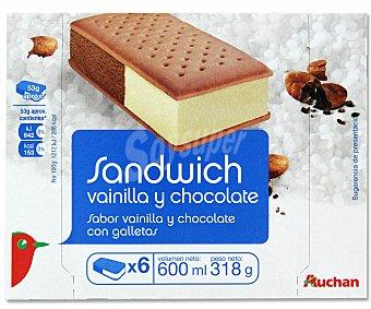 Auchan Sándwich Helado de Vainilla y Chocolate Pack 6 Unidades de 100 Mililitros