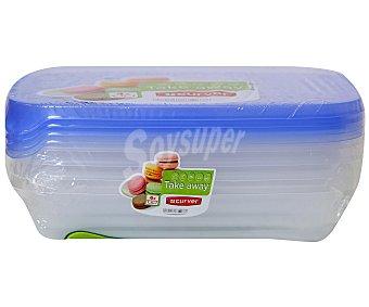 Curver Pack de recipientes herméticos rectangulares de plástico, capacidad de 1 litro, modelo sandwich take away 1 Unidad