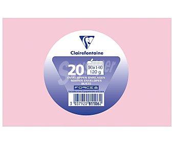 Clairefontaine Sobres de tamaño 90 x 140 milímetros, peso de 120 gramos y de color rosa 20 unidades