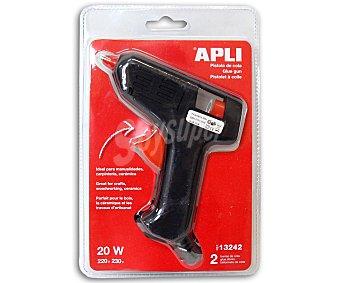 APLI Pistola de cola de 20 Watios, con 2 barras de cola de 7.5 milímetros 1 unidad