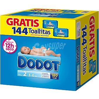 Dodot Caja pañal T2 (3-6 Kg.) + Regalo 144 toallitas 180 ud