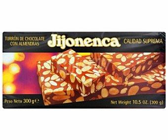 JIJONENCA Turrón de chocolate con almendras 300 gramos