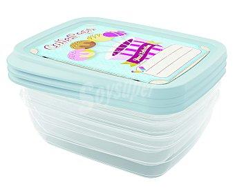 Jobgar Conjunto de 3 recipientes de plástico rectangulares con tapa hermética decorada color azul, 1 litro de capacidad 1 unidad
