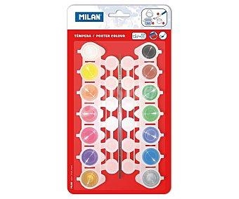 Milan Caja de 14 témperas de 5 mm, lavables y de diferentes colores + 1 pincel milan