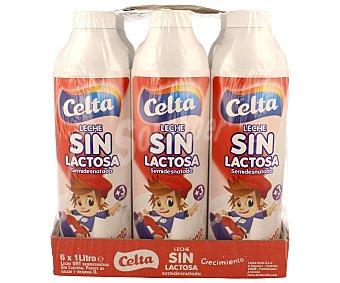 Celta Leche semidesnatada energía y crecimiento sin lactosa Pack 6 botellas