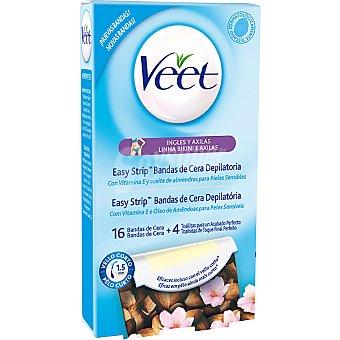 Veet Bandas de cera depilatoria bikini & axilas con vitamina E y aceite de almendras para piel sensible Caja 16 unidades