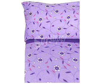 Auchan Juego de sábanas de 3 piezas tejido pirineo con estampado floral, color lila, 90cm., AUCHAN.
