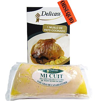 DELICASS foie gras de pato entero mi cuit con regalo de una lata de muslo de pato en confit envase 200 g