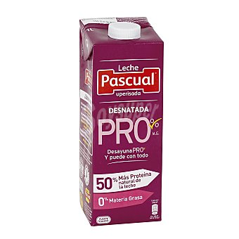 Pascual Leche desnatada Pro 0% Materia Grasa leche desnatada 50% más proteina envase 1 l Envase 1 l