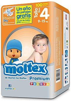 Moltex Pañales Premium para niños de 9 a 15 Kilogramos, Talla 4 100 Unidades