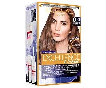 L'Oréal Excellence Crème Tinte de pelo permanente en crema color castaño muy claro, tono 600 Excellence creme