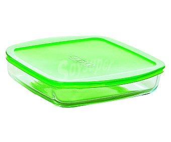 PYREX Fuente cuadrada baja de vidrio borosilicato con tapa de plástico, 25x22 centímetros, 1,5 litros. Apta para horno, microondas y congelador 1,5 litros