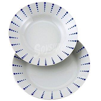 Vajilla de porcelana decorada de 18 piezas para 6 servicios con topos azules