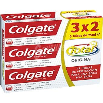 COLGATE TOTAL Pasta dentífrica original 3 tubos de 75 ml
