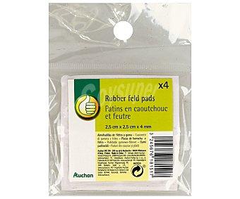 Productos Económicos Alcampo Conjunto de 4 piezas de fieltro adhesivo cuadrado, de color marrón y de 25x25x4 milímetros ALCAMPO