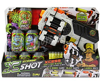 Zuru Pistola Lanzadora de Dardos y Discos Zombie x-shot, Haz Diana en los 6 Botes Zombie Incluidos 1 Unidad