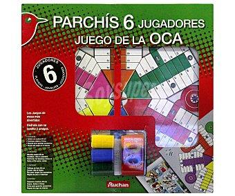 Auchan Tablero de Juego del Parchís y la Oca para 6 Jugadores 1 Unidad