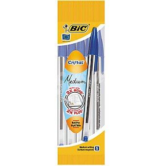 Bic Bolígrafos azules de escritura media Pack 5