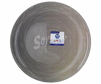 LUMINARC Plato de postre modelo Stonemania de 20.5 centímetros, fabricado en de vidrio templado de color gris y moderno diseño de lineas en espiral 1 Unidad
