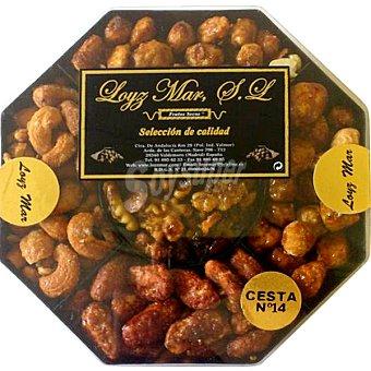Loyz Mar Cesta Doris con cacahuetes garrapiñados, almendras garrapiñadas, macadamias garrapiñadas y almendras peladillas y nuez caramelizada cesta 350 g 350 g