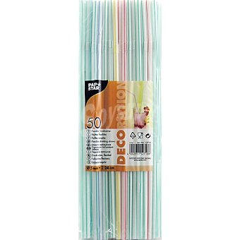 Papstar Pajitas flexibles para granizado 24 cm Paquete 50 ml