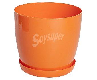 VAN Macetero plástico modelo Begoña, liso y de color naranja 1 Unidad
