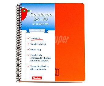 Auchan Cuaderno DIN A4 con cuadricula de 5x5 milímetros, margen izquierdo de colores, 140 hojas de 70 gramos, tapas de plástico y microperforado con encuadernación con espiral metálica 1 unidad