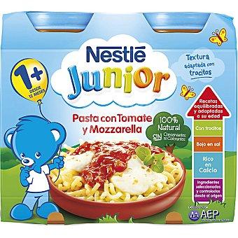 Junior Nestlé Tarrito pasta con tomate y mozzarella 100% natural estuche 400 g Pack 2x200 g